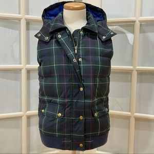 J. Crew Duck Down Plaid Puffer Hooded Vest Size S